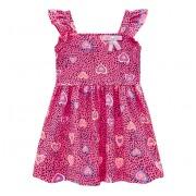 Vestido Infantil Verão Rosa Corações e Bolinhas Menina Brandili