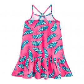 Vestido Infantil Alcinha Folhas Pink e Verde Brandili 8 Anos Menina