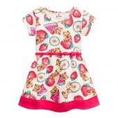 Vestido Infantil Verão Cachorrinhos e Frutinhas Brandili Menina 1-3 Anos