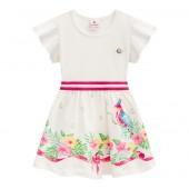Vestido Infantil Verão Brandili Off-White Floral Passarinho Calopsita Menina 1-3/4-8 Anos
