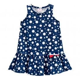 Vestido Infantil Bolinhas Saia Babadinho Brandili Azul Marinho Menina 2 Anos