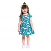 Vestido Infantil Verão Verde Floral Arco-Íris Brandili Menina 1-3 Anos