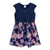 Vestido Infantil Floral Azul Marinho Brandili 4-8 Anos Menina