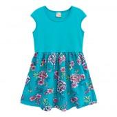 Vestido Infantil Floral Azul Turquesa Brandili 6-8 Anos Menina
