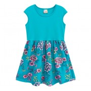 Vestido Infantil Floral Azul Turquesa Brandili 4-8 Anos Menina