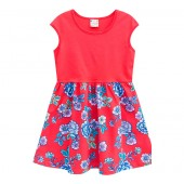 Vestido Infantil Vermelho Florido Brandili 4-8 Anos Menina