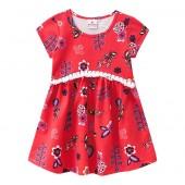 Vestido Infantil Floral Vermelho Brandili 2 Anos