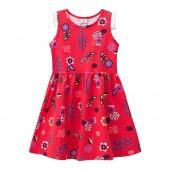 Vestido Infantil Floral Vermelho Brandili Menina 8 Anos