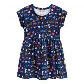 Vestido Infantil Azul Marinho Gatinhos Verão Brandili Menina