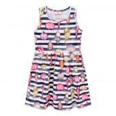 Vestido Infantil Verão Listrado Azul Marinho Praia Menina Brandili 4-10 Anos