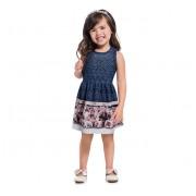 Vestido Infantil Azul Festa Barrado Ursinhos Mundi Menina 1-3/4-8 Anos