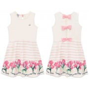 Vestido Infantil Verão Mundi Off-White Lacinhos Rosa Barrado Tulipas Menina 4-8 Anos