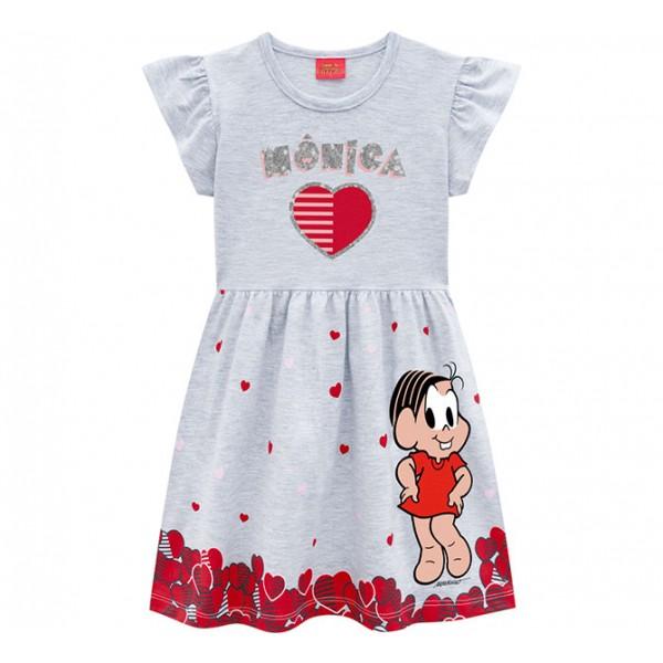 Vestido Infantil Turma da Mônica Brandili Vermelho/Cinza Menina 4-8 Anos