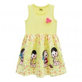 Vestido Infantil Turma da Mônica Bolinhas Coloridas Amarelo Brandili Menina 1-3 Anos