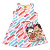 Vestido Infantil Turma da Mônica Brandili Verão Menina 1-3 Anos