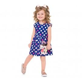 Vestido Infantil Turma da Mônica Pink Bolinhas Coloridas Brandili Menina 1-3 Anos