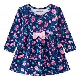 Vestido Bebê Manga Longa Floral Azul Marinho Menina Brandili G