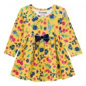 Vestido Bebê Manga Longa Floral Mostarda Menina Brandili M