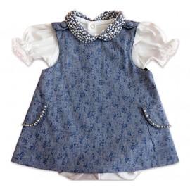 Vestido Azul para Bebê com Pérolas e Strass