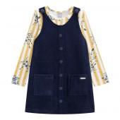 Vestido Infantil Salopete Veludo Azul Marinho e Blusa Manga Longa Floral Menina Mundi