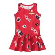 Vestido Floral Vermelho para Criança Brandili 3 Anos Menina