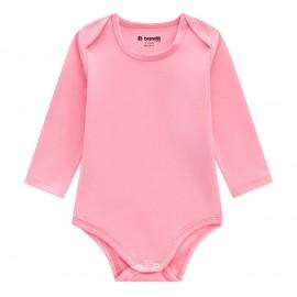 Vestido Bebê Salopete Xadrez e Body Manga Longa Rosa Menina Brandili M