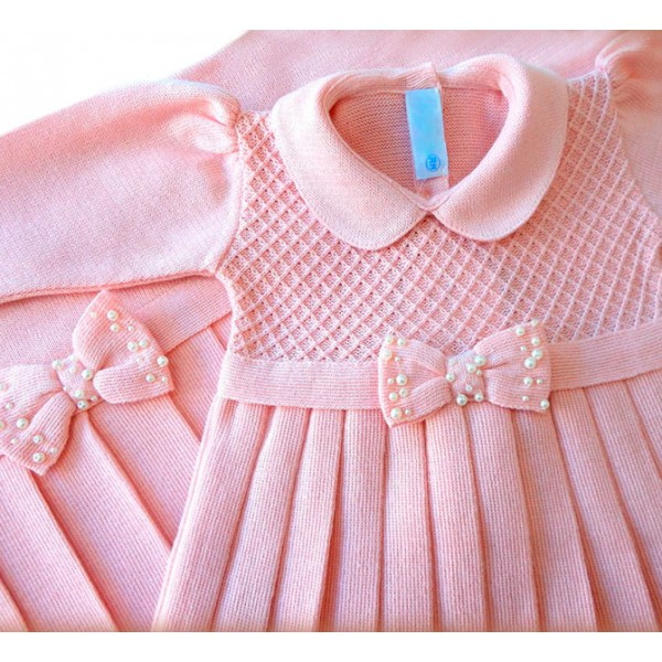 4930629668 Saída de Maternidade Vestido Casinha de Abelha Laço Rosê