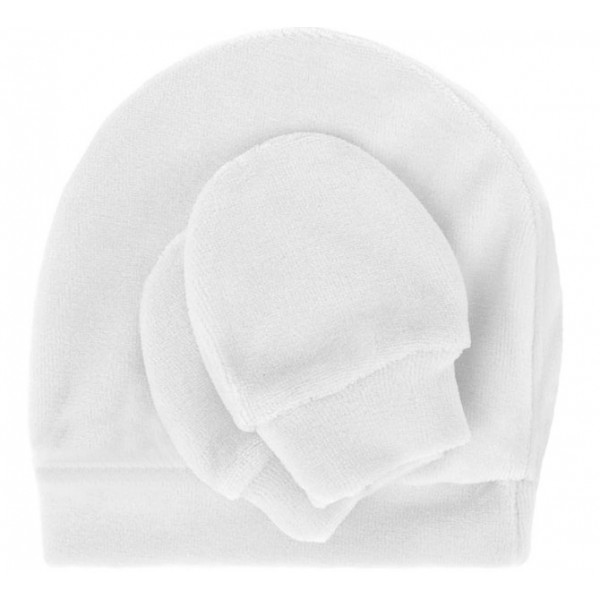 Kit Touca e Luva Branca Plush para Bebê b1928908df1