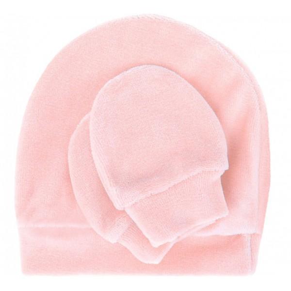 Kit Touca e Luva Plush Rosa para Bebê d0e22bc482d