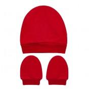 Kit Touca e Luva Vermelha para Bebê