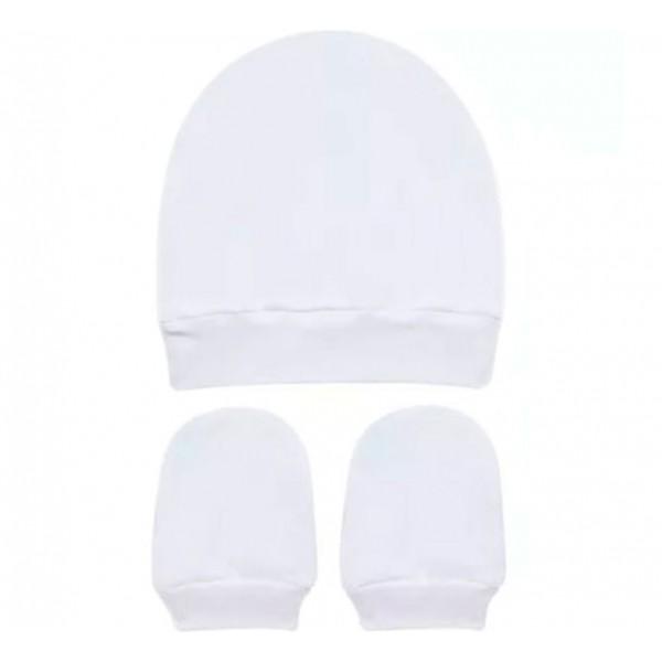 Kit Touca e Luva Branca para Bebê