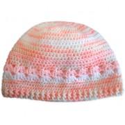 Touca de Crochê Rosa e Branco para Bebê