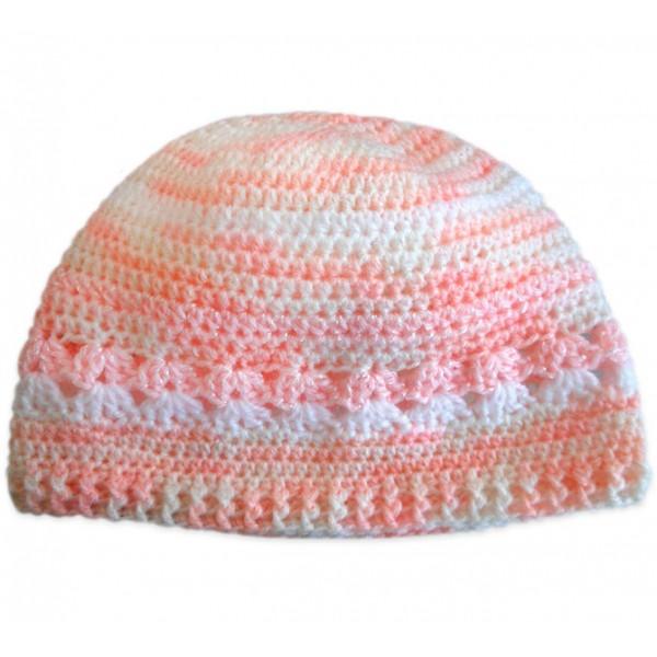 e4086a01972d3 Touca de Crochê Rosa e Branco para Bebê