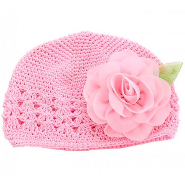 Touca de Crochê Cor de Rosa para Bebê
