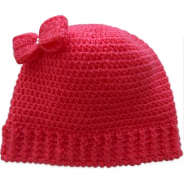 Touca de Crochê Lacinho Pink para Bebê e334d331ba5