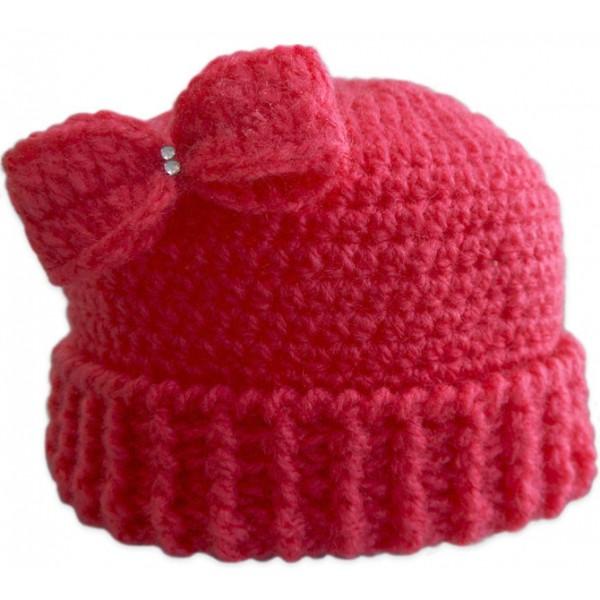 touca de croch lacinho pink para beb