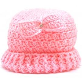 Touca de Crochê para Bebê Lacinho Rosa