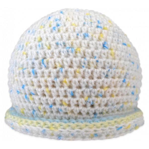 Touca para Bebê Branca Azul e Amarelo