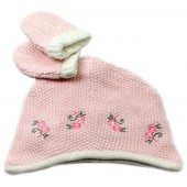 Touca e Luva de Tricô Rosa para Bebê