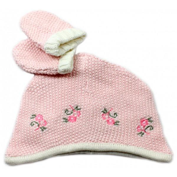 Touca e Luva de Tricô Rosa para Bebê a49690935ea