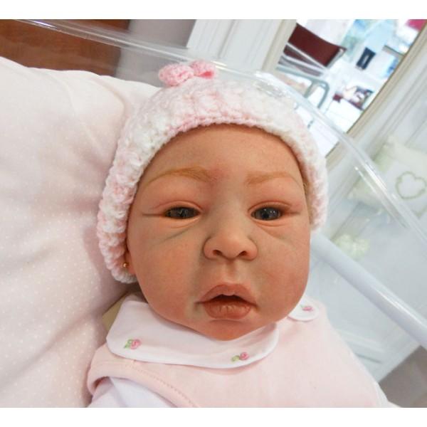 touca para beb   lacinho rosa