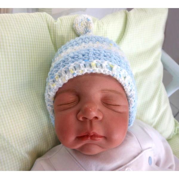 Touca para Bebê - Listrada Azul