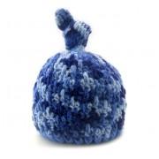 Touca para Bebê em Lã Antilárgica Crochê Nozinho Azul Mesclado