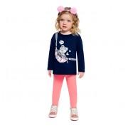 Conj. Infantil Menina Blusão Ursinha e Calça Legging Rosa Brandili 1-3/4-8 Anos