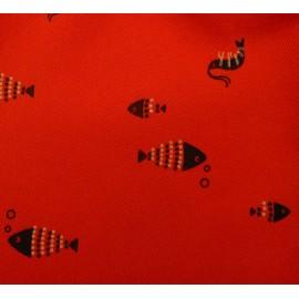 Conj. Infantil Brandili Gola Polo Azul Marinheiro e Bermuda de Sarja Vermelha Estampa Peixe Fundo do Mar
