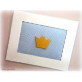 Quadro Coroa Dourada com Strass - Azul