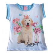 Blusa Infantil Azul Estampa Cachorro