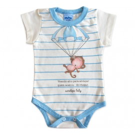 Body Bebê Manga Curta Macaquinho