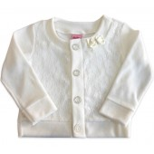 Casaco Infantil Off White Plush e Renda