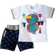 Conjunto Camiseta e Bermuda Infantil Carros